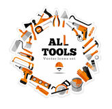 Buildings tools icons set. Stock Photo