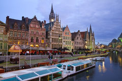 Buildings With Tourboats, Ghent Royalty Free Stock Photos