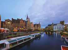 Buildings With Tourboats, Ghent Royalty Free Stock Images