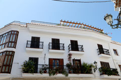 Buildings and tourists in Nerja, Andalusia, Spain Royalty Free Stock Photos