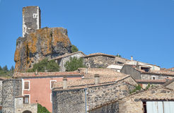 Buildings and tower of the medieval town. Of Mirabel in France Stock Photo