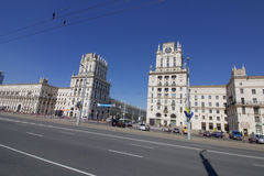 Buildings tower at Railway Square in Minsk, Belarus. `Gates of Minsk` - two 11-storey building towers at the corners of a 5-storey buildings, arranged royalty free stock photo