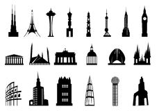 Buildings And Towers Icon Set. Vector illustration of buildings and towers icon set on white background Royalty Free Stock Photography