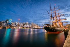 The Sydney skyline by night stock photos