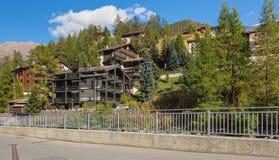 Buildings of the town of Zermatt in Switzerland stock images