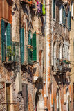 Buildings with traditional Venetian windows in Venice, Italy Royalty Free Stock Photography