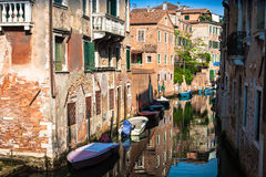 Buildings with traditional Venetian windows in Venice, Italy Stock Photo