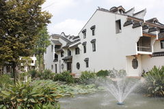 The  buildings within traditional yard and  water  pool in Meihua Zhou Stock Image