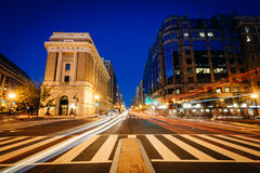 Buildings and traffic along H Street at night, in Washington, DC Royalty Free Stock Photo