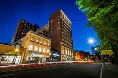Buildings and traffic on Chapel Street at night, in downtown New Stock Photography