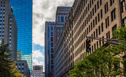 Buildings and traffic light on a street in Boston, Massachusetts Royalty Free Stock Images
