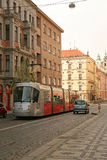 Buildings and tram on Ujezd street in Mala Strana Lesser town in Prague Stock Photos