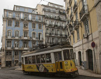 Buildings and trams Lisbon, Portugal. Royalty Free Stock Images