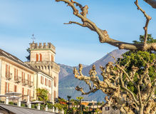 Buildings and tree in Locarno, Switzerland Royalty Free Stock Images