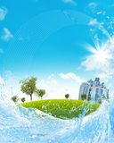 Buildings and trees on green meadow stock illustration