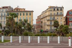 Buildings with typical classic Mediterranean architecture at Georges Pompidou Square in Nice. royalty free stock photos