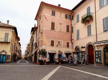 Buildings. Typical italian buildings with shops and a square in Castel Gandolfo, Italy Stock Photography