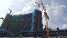 Buildings are under construction in the morning. royalty free stock photography