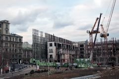 Buildings under construction in Moscow city center royalty free stock images