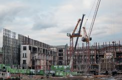Buildings under construction in Moscow city center stock photos