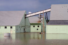 Buildings under flood water Royalty Free Stock Photo