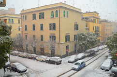 Buildings under snow fall Royalty Free Stock Image