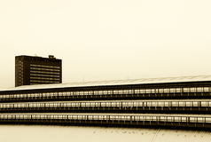 Buildings under the snow, high contrast Stock Photo