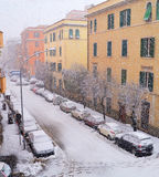 Buildings under snowfall Stock Photography