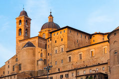 Buildings in Urbino during the golden hour Stock Photos