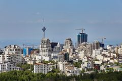 Buildings of various storeys in the city, Tehran, Iran. Stock Photos