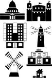 Buildings. Various buildings and structures for people at different times Royalty Free Illustration