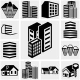 Buildings vector icon set on gray Stock Photography