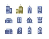 Buildings vector icons. Collection of home and house icons. City building vector icon set Royalty Free Stock Photo