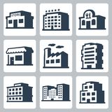 Buildings vector icons, isometric style #1 Royalty Free Stock Images