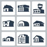 Buildings vector icons, isometric style #3 Royalty Free Stock Photo