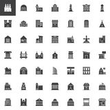 Buildings vector icons set. Modern solid symbol collection, filled style pictogram pack. Signs, logo illustration. Set includes icons as factory, warehouse vector illustration