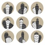 Buildings vector icons set. Vector illustration. Royalty Free Stock Photography