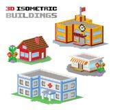 Buildings vector illustration shop, hospital. Buildings vector illustration. 3d buildings isolated on white background. Buildings collection. Shop building Stock Photos