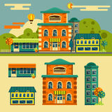 Buildings vector set. Small town street landscape. In flat style. Design elements and icons vector illustration