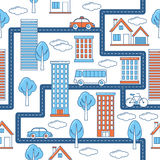 Buildings, vehicles, roads and trees pattern. Line design city pattern with skyscrapers, cars and bicycle Royalty Free Stock Photography