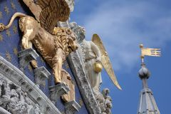 Basilica di San Marco, roof details, Venice, Italy royalty free stock photo