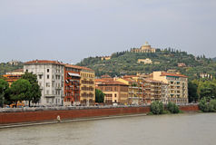 Buildings in Verona along the river Adige Stock Photography