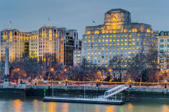 Buildings in the Victoria Embankment, Cleopatra's Needle, Pier Royalty Free Stock Photography