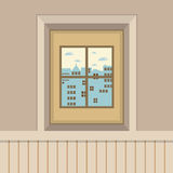 Buildings View Through The Window Royalty Free Stock Photo