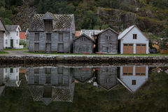 Buildings in village of Lærdalsøyri, Norway Stock Photography