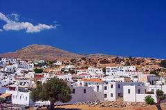 Buildings village of Lindos Stock Image