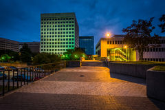 Buildings and walkway in downtown at night, in Winston-Salem, No Royalty Free Stock Image