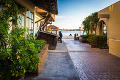 Buildings and walkway at Seaport Village in San Diego  Royalty Free Stock Photo