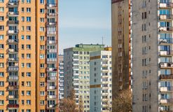 Buildings in Warsaw. Characteristic residential panel building constructed of prefabricated, prestressed concrete from the 80s in Warsaw, Poland Stock Images