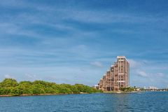 Buildings by water in Biscayne Bay near Miami, Florida, USA stock photo